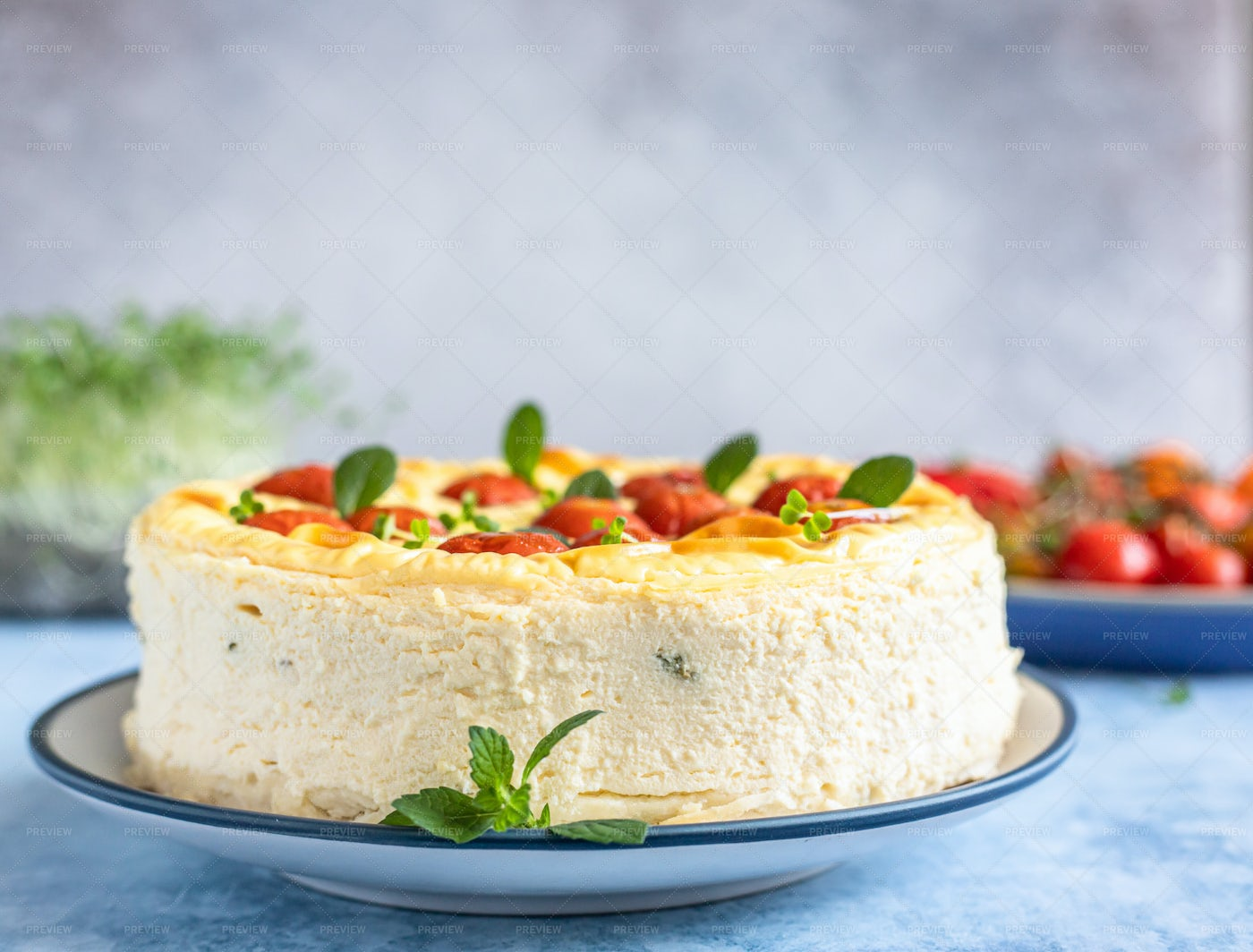 Cheesecake With Tomatoes: Stock Photos