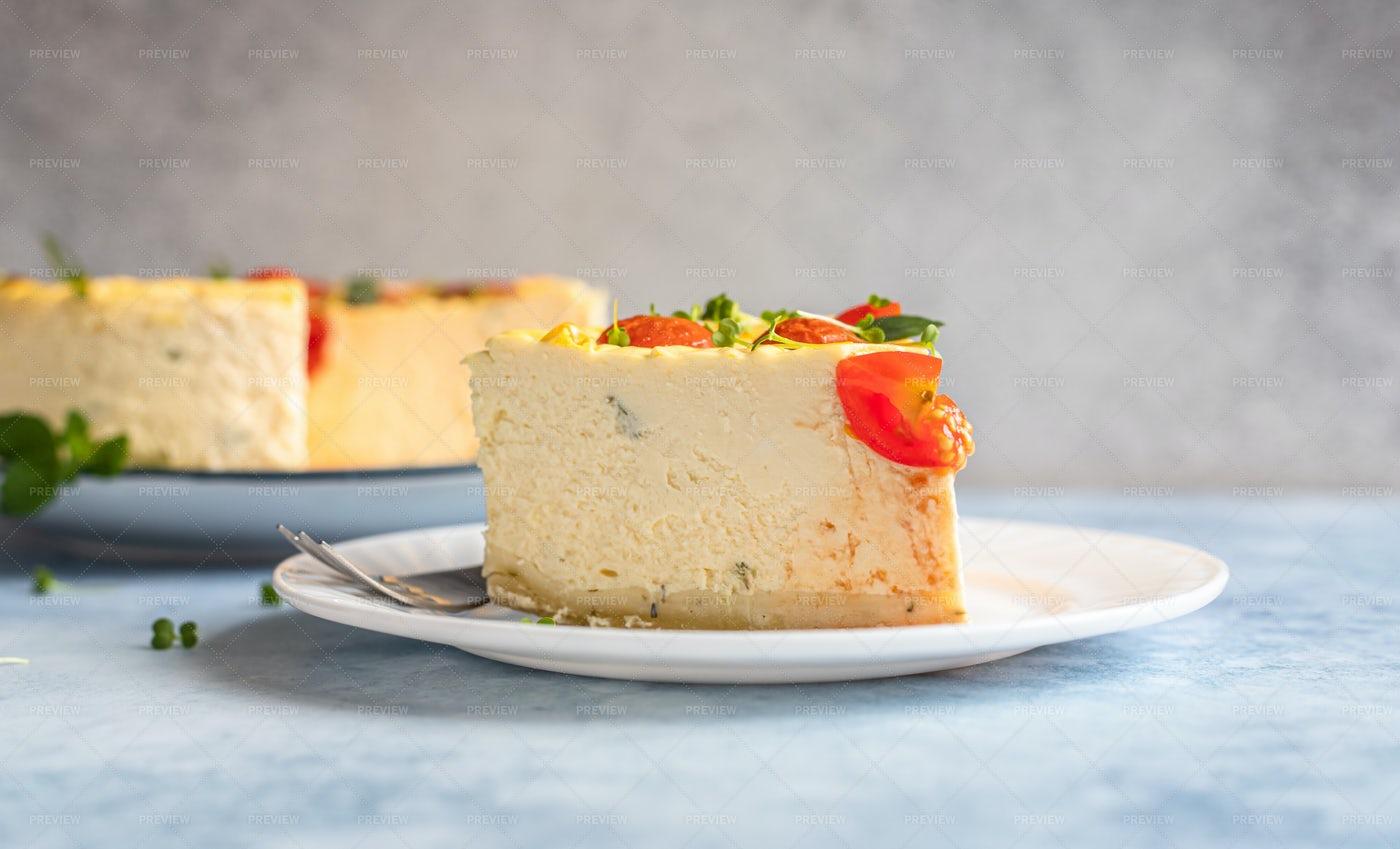 Savoury Tomato Cheesecake: Stock Photos