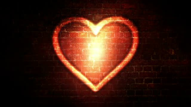 Glowing Heart In City Grunge: Stock Motion Graphics