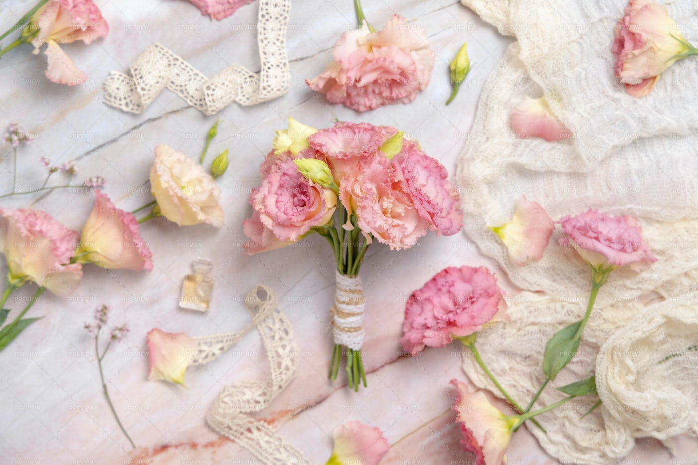 Pink Flowers Bouquet On Marble: Stock Photos