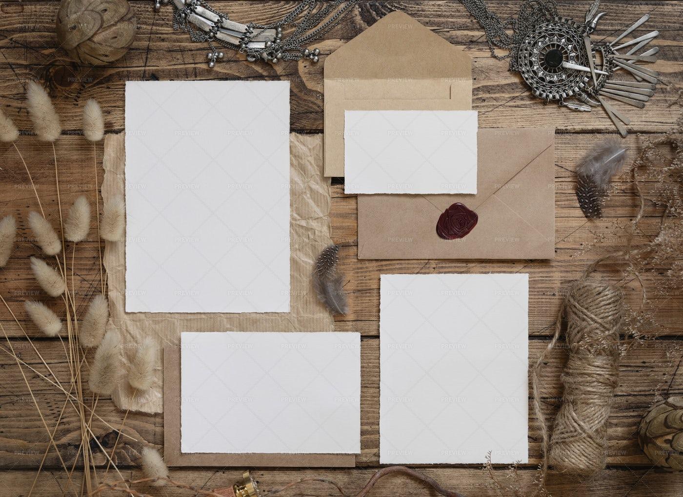Wedding Boho Blank Cards: Stock Photos