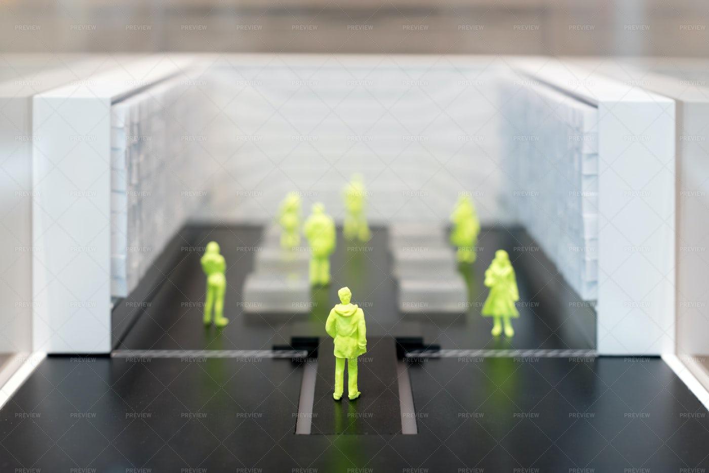 Miniature People Social Distancing: Stock Photos