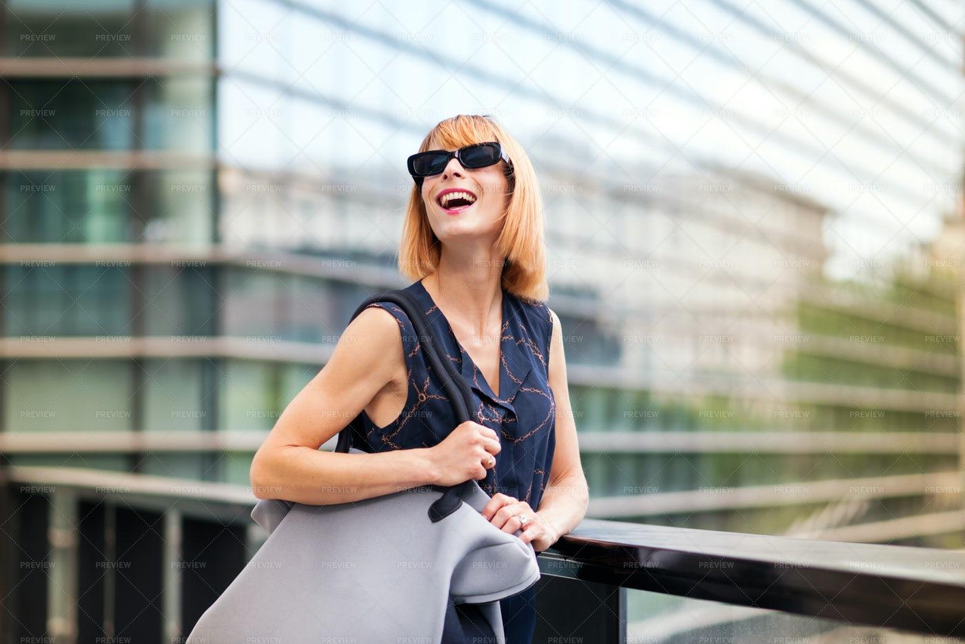 Vivacious Woman In Modern Sunglasses: Stock Photos