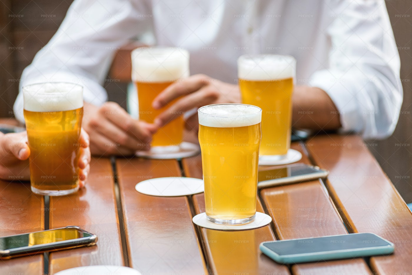 Beer On A Pub Table: Stock Photos