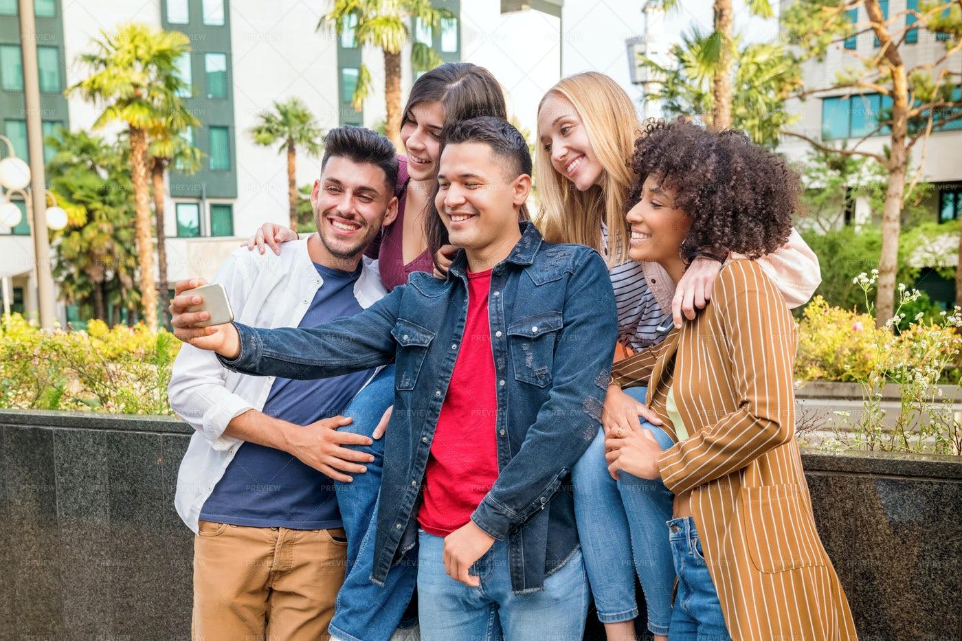 Happy Friends Taking Selfie: Stock Photos