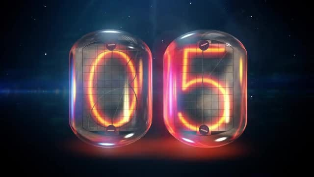 Nixie Tube 10-0 Countdown: Stock Motion Graphics