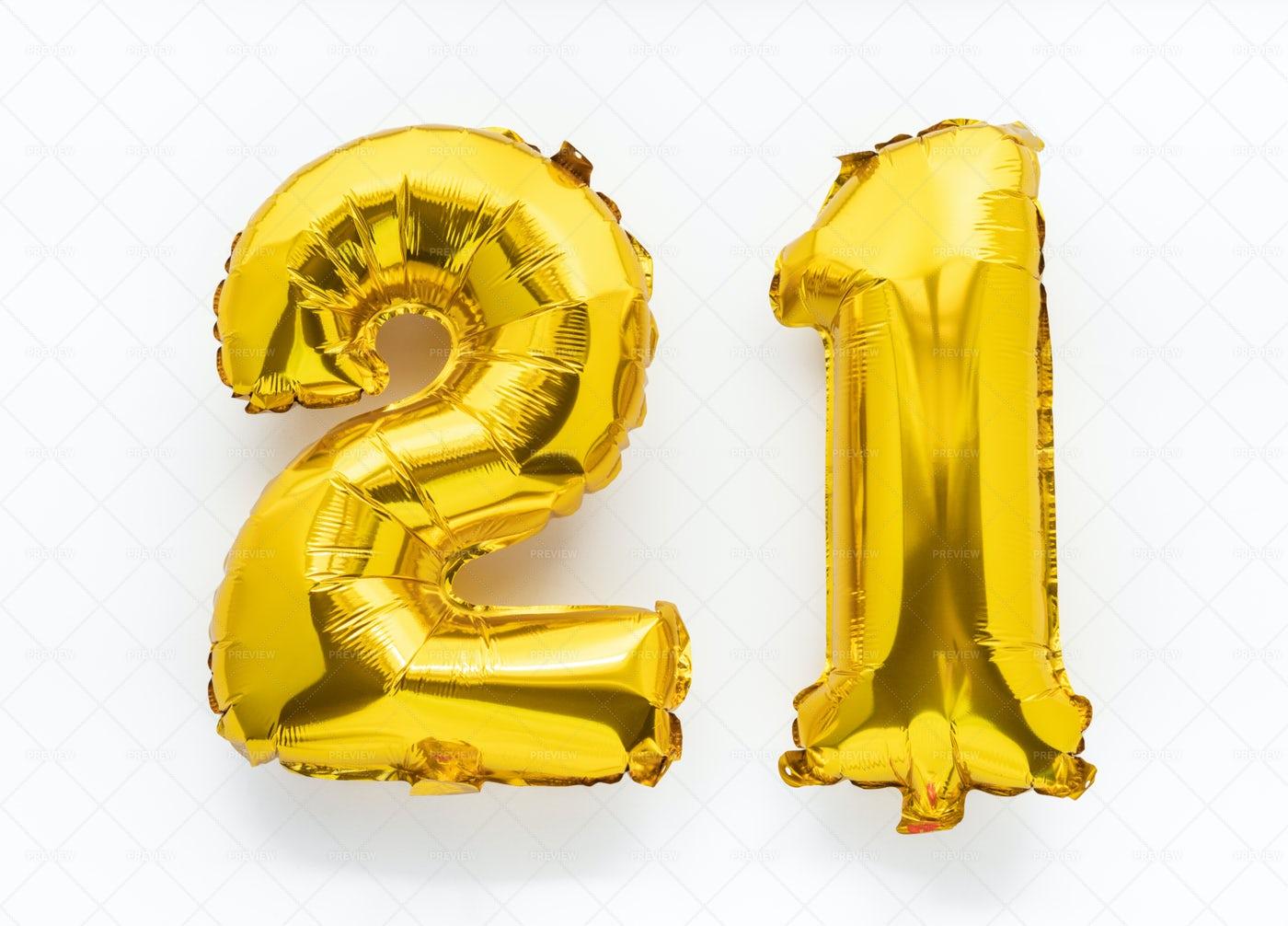21 Golden Foil Balloon: Stock Photos