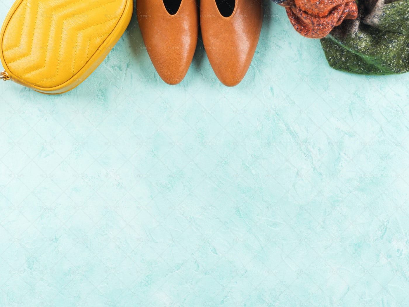 Fall Outfit Turquoise Background: Stock Photos