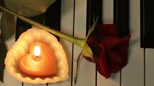 Rose And Candle On Piano : Stock Video