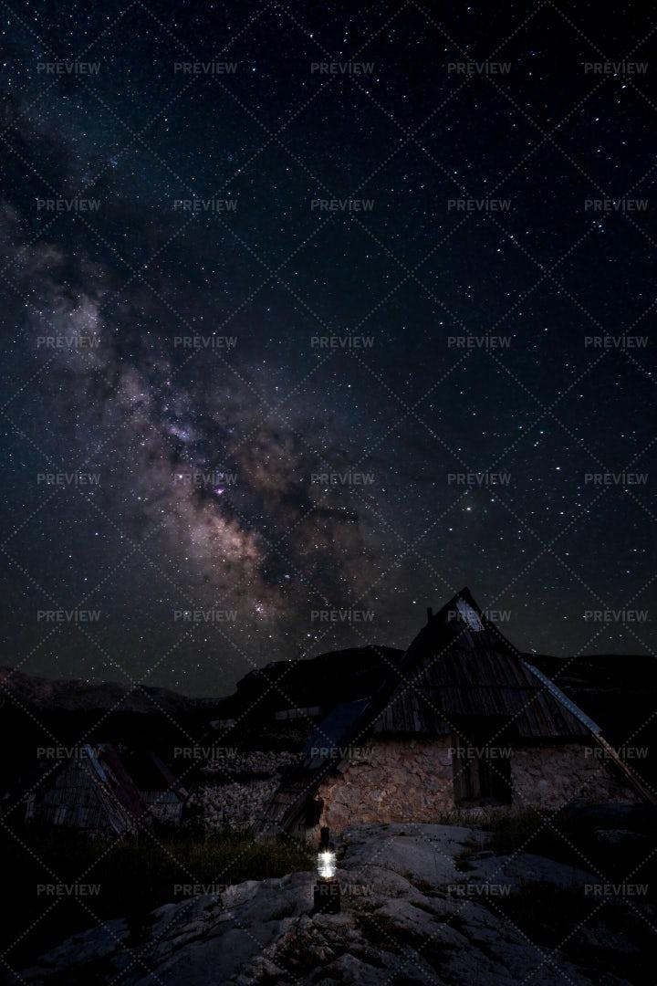 Hut At Night: Stock Photos