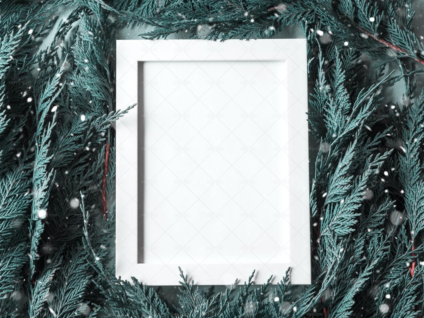 White Winter Empty Frame: Stock Photos