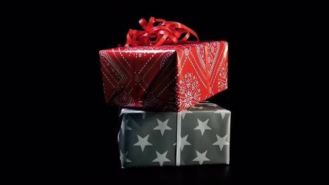 Two Gifts Rotating : Stock Video