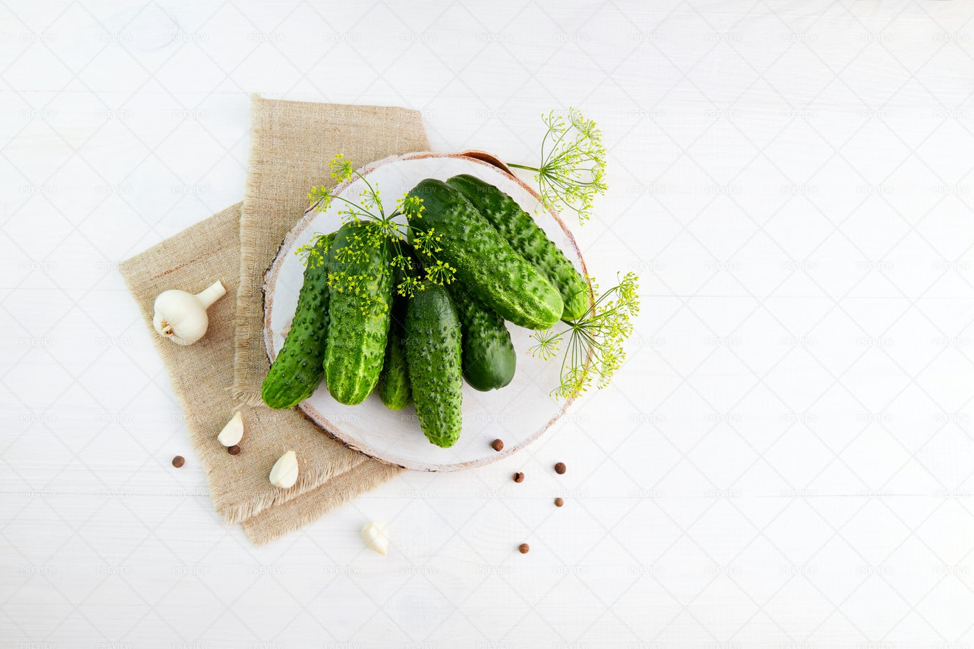 Fresh Cucumbers With Dill: Stock Photos