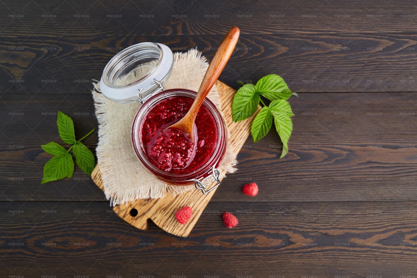 Raspberry Jam In A  Jar: Stock Photos