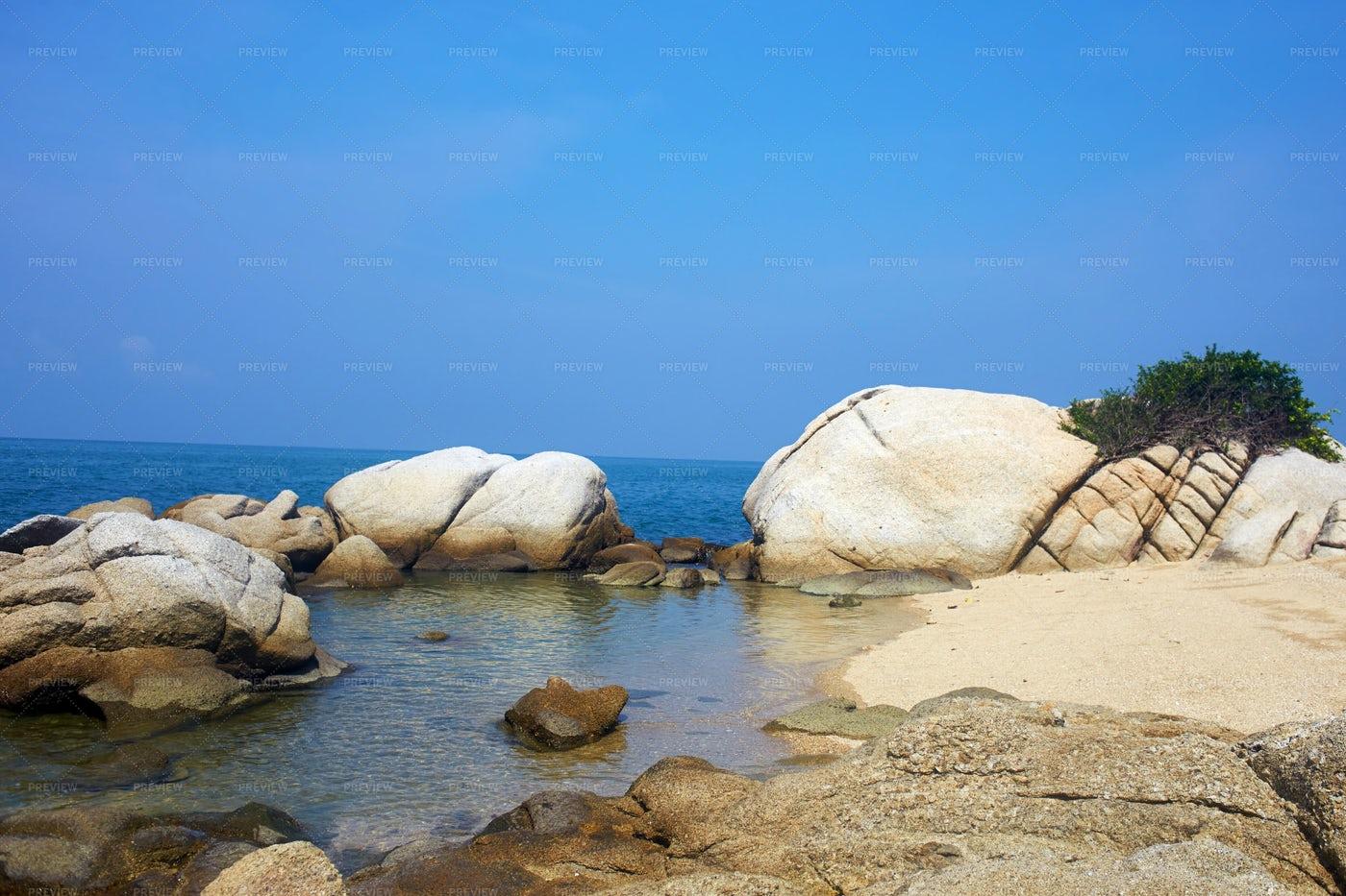 Stones On A Sandy Beach: Stock Photos
