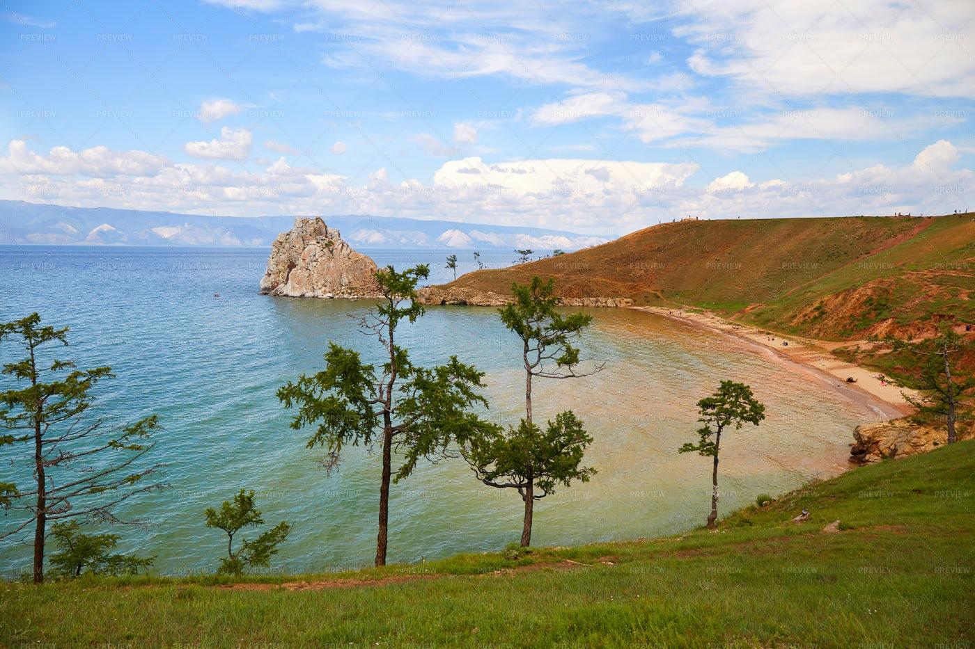 Beautiful View Of The Khuzhir Bay: Stock Photos