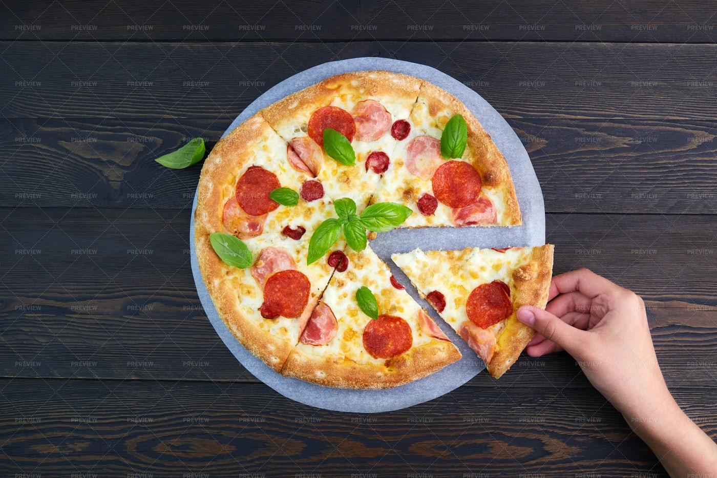 Italian Meat Pizza: Stock Photos