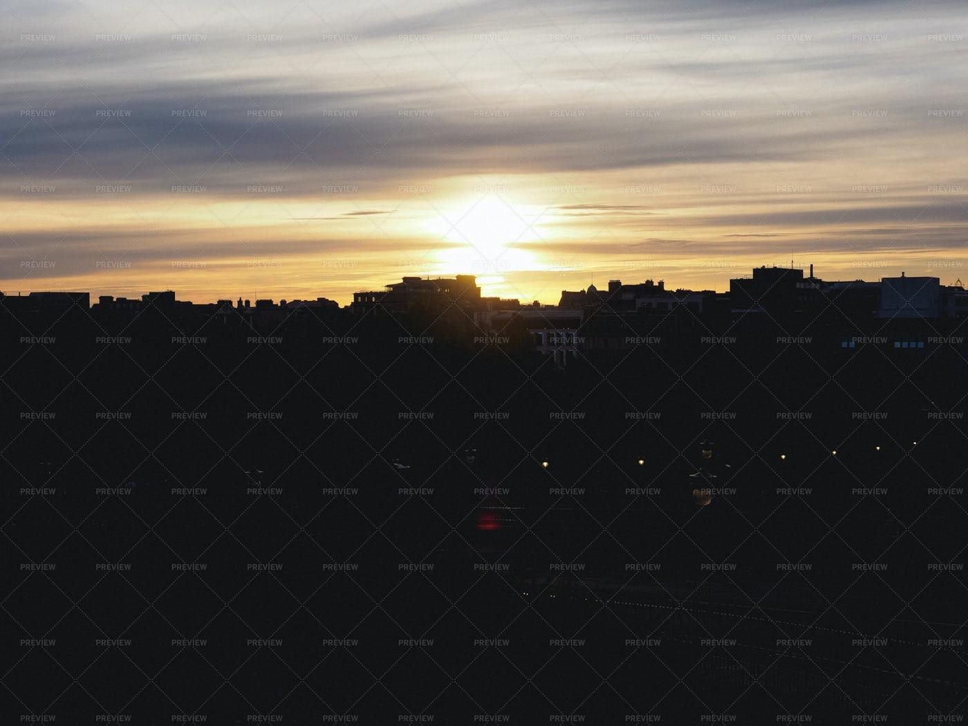 City Skyline At Sunset: Stock Photos