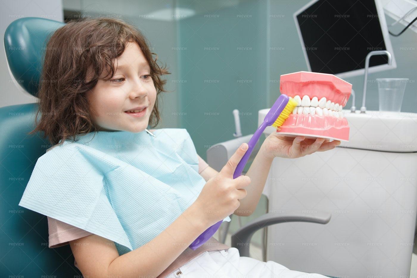 Boy Learning Brushing Teeth: Stock Photos