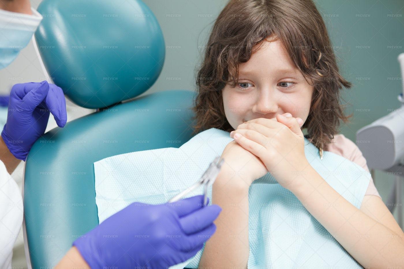 Boy Afraid Of Dental Exam: Stock Photos
