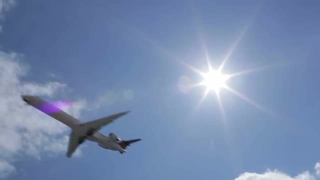 Aircraft In The Sky. Sun Rays: Stock Video