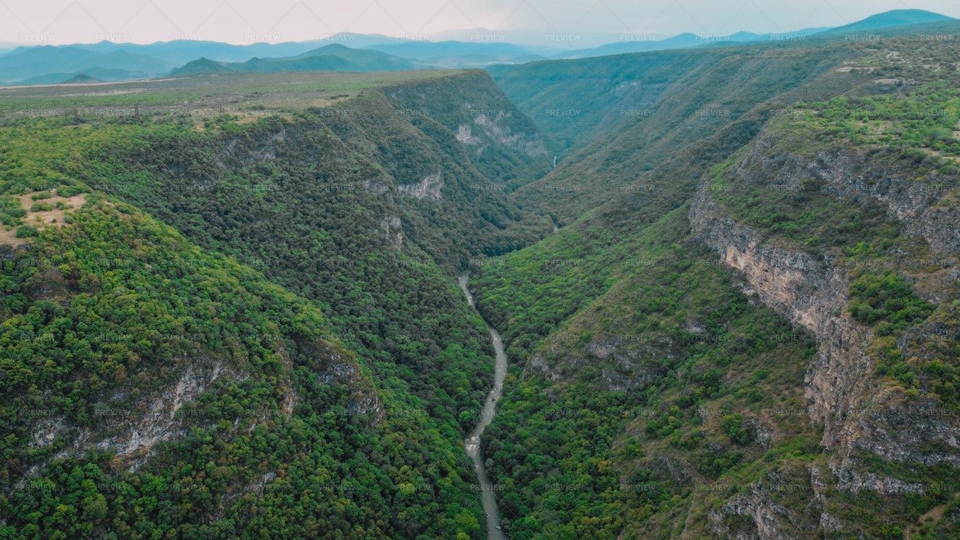 Samshvilde Canyon Aerial: Stock Photos