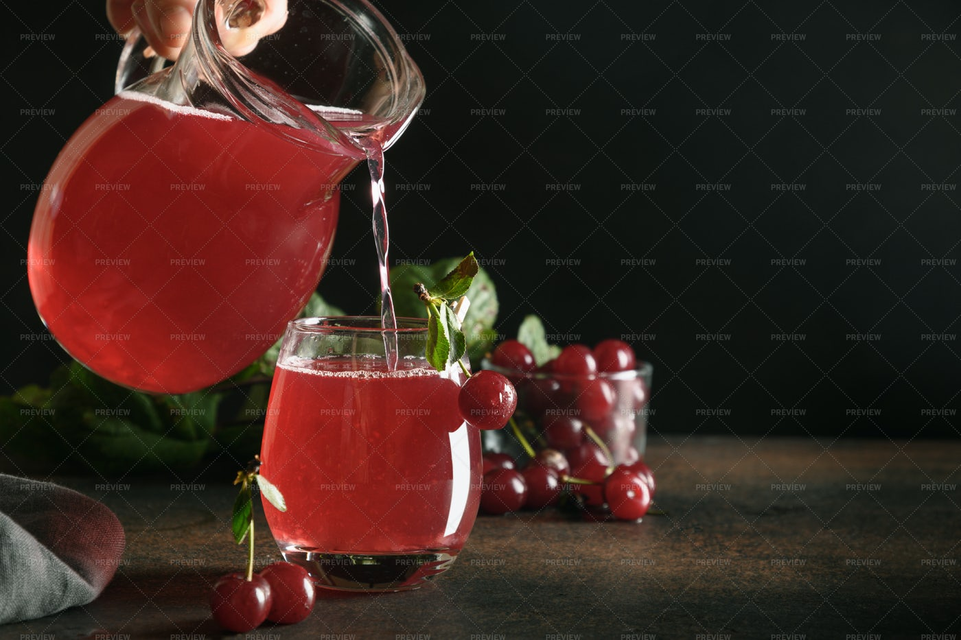Pouring Red Cherry Compote: Stock Photos