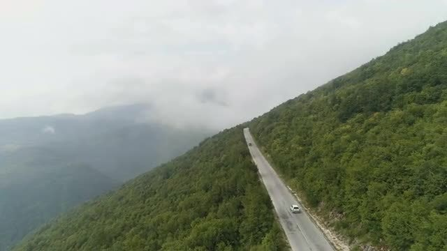 Aerial Shot Of Mountain Road: Stock Video