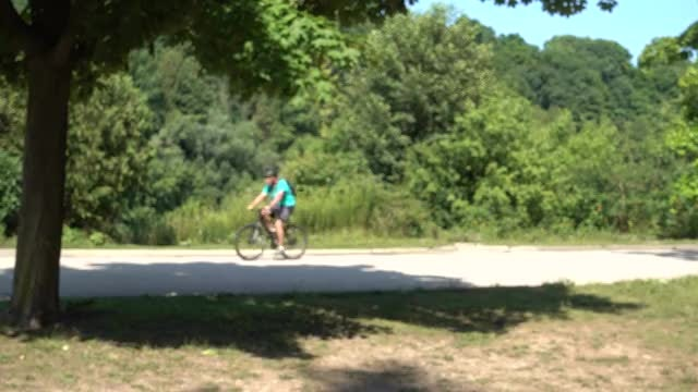 Cyclist Bicycling Through Park: Stock Video