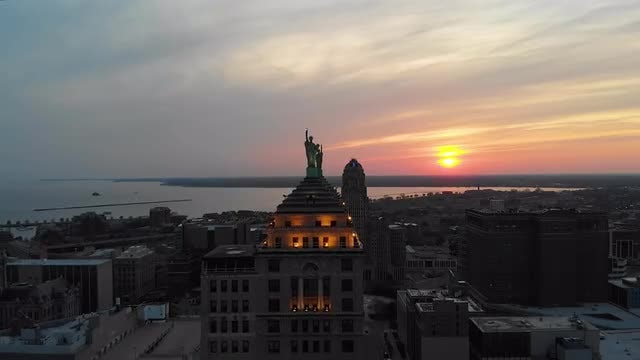 Aerial Shot Of Downtown Buffalo : Stock Video