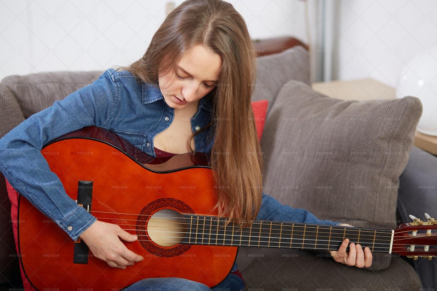 Play Classic Guitar At Home: Stock Photos