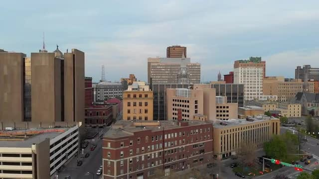 Flying Over Buildings In Buffalo: Stock Video