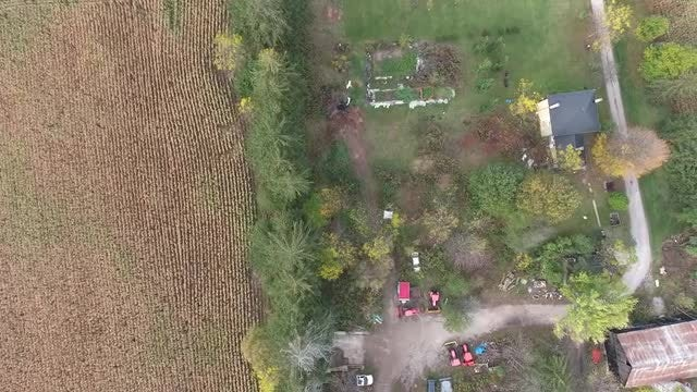 Farmhouse With Crops Aerial: Stock Video