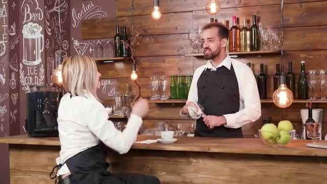 Bartender And Waitress: Stock Video