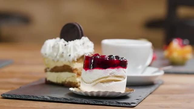 Two Cakes And Coffee: Stock Video