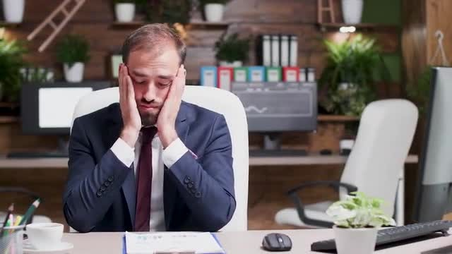 Exhausted Businessman: Stock Video