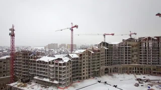 Construction Site During Winter: Stock Video