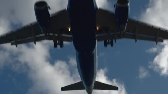 Below Landing Aircraft: Stock Video