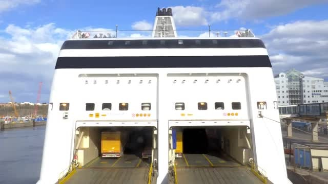 Lorry Boarding Ferry: Stock Video