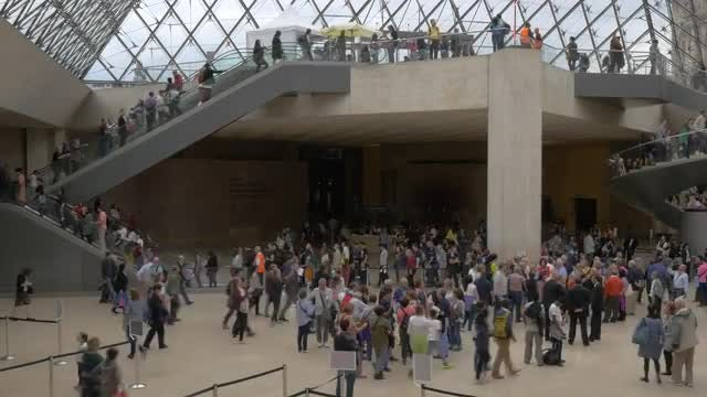 People In Louvre Museum: Stock Video