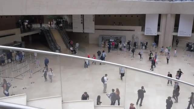 Lobby Of The Louvre: Stock Video