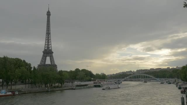 Eiffel Tower And Seine: Stock Video