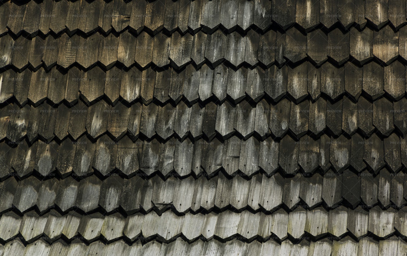 Fragment Of Old Wooden Roof Tiles: Stock Photos
