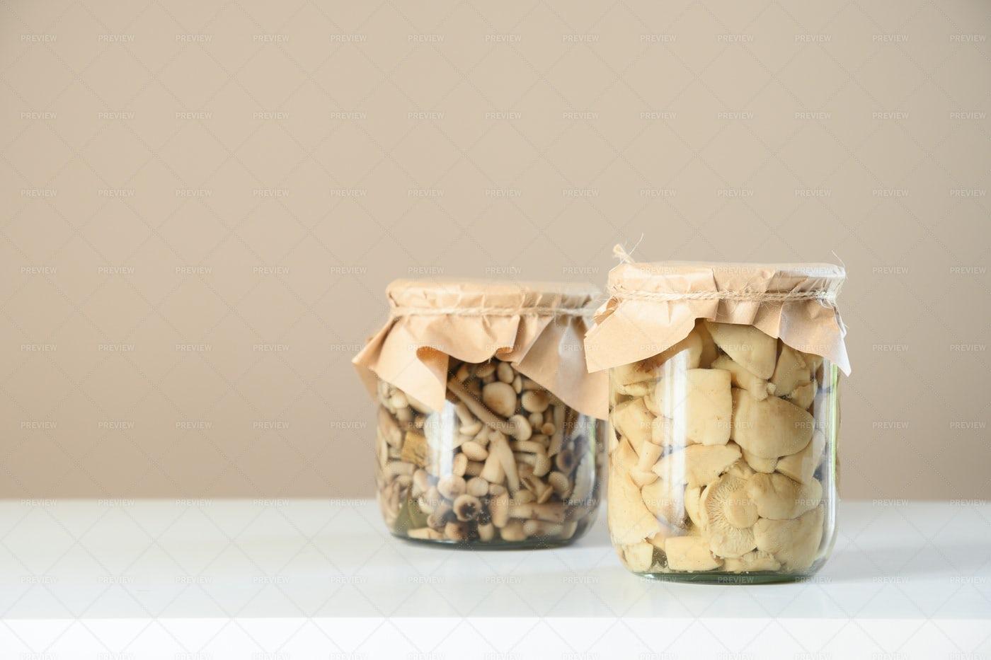 Pickled Mushrooms: Stock Photos