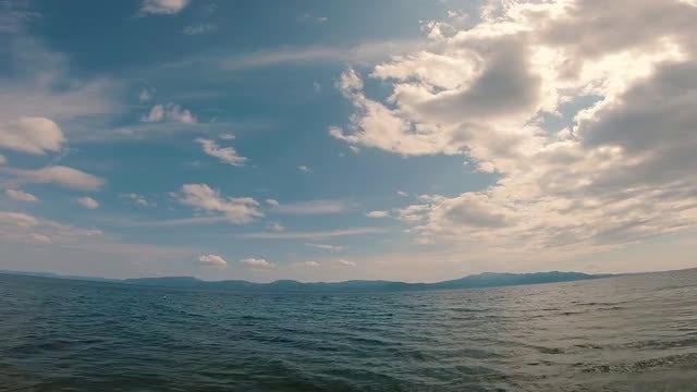 Fisheye Wide Angle Shot Of Ocean : Stock Video