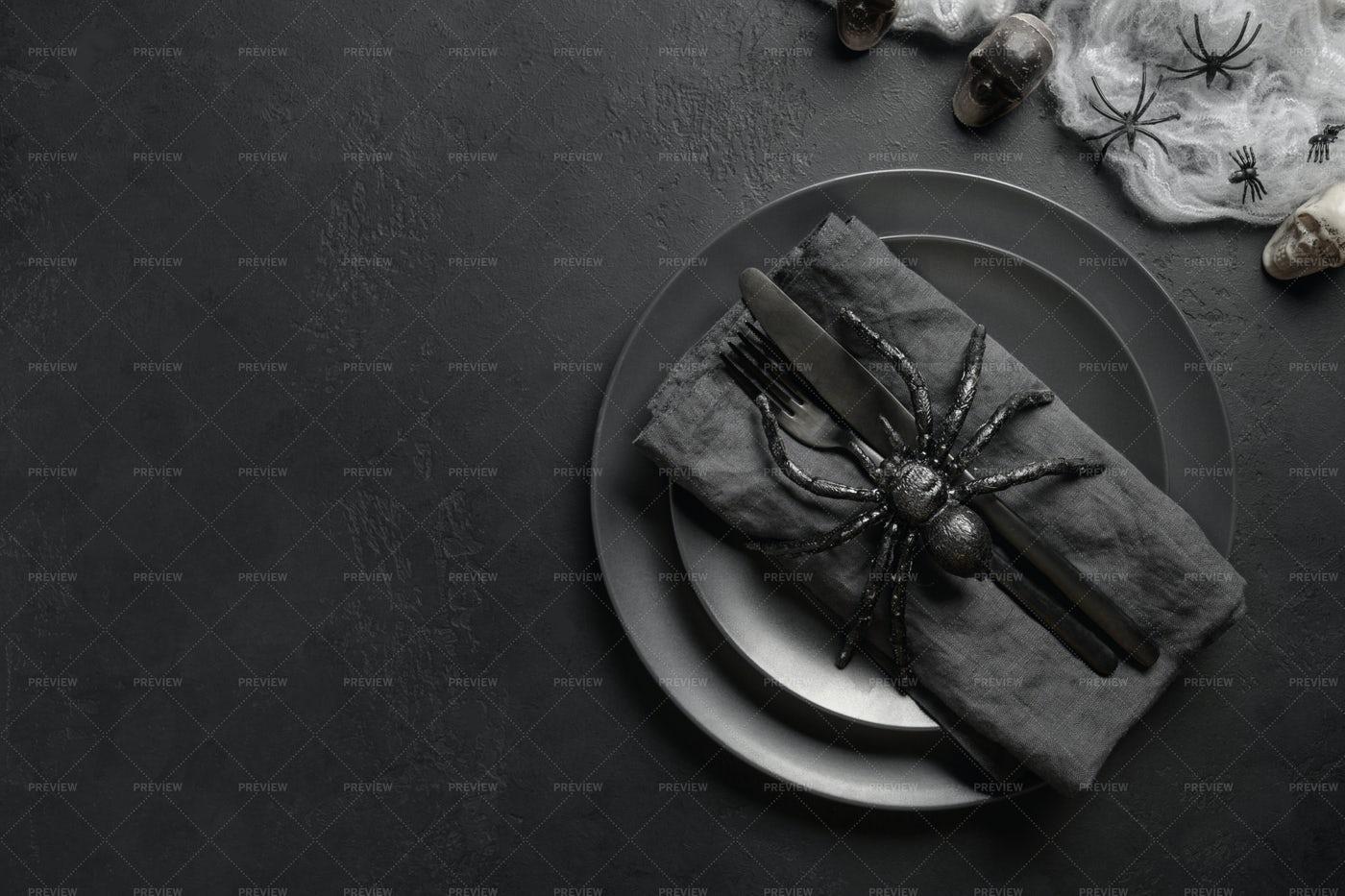 Festive Halloween Black Table Setting: Stock Photos