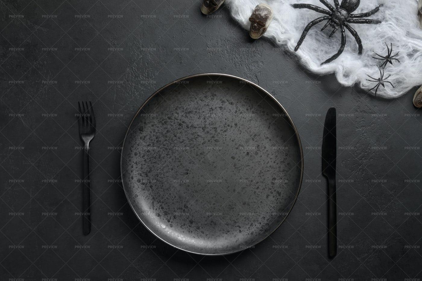 Halloween Table Setting: Stock Photos