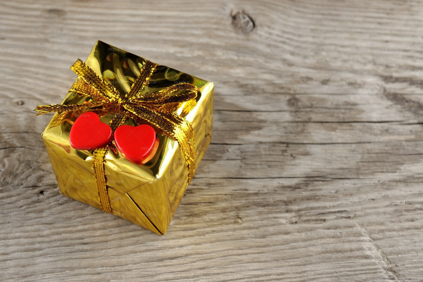 Valentine Gift Box With Two Hearts: Stock Photos