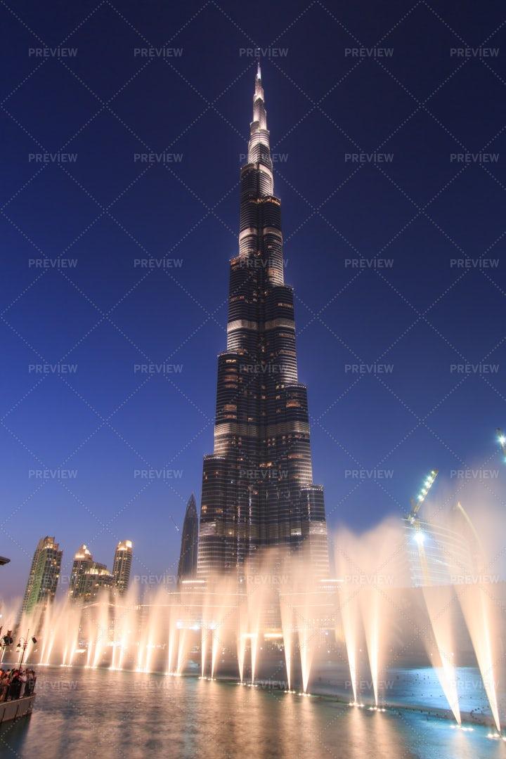 Burj Khalifa At Night, Dubai: Stock Photos