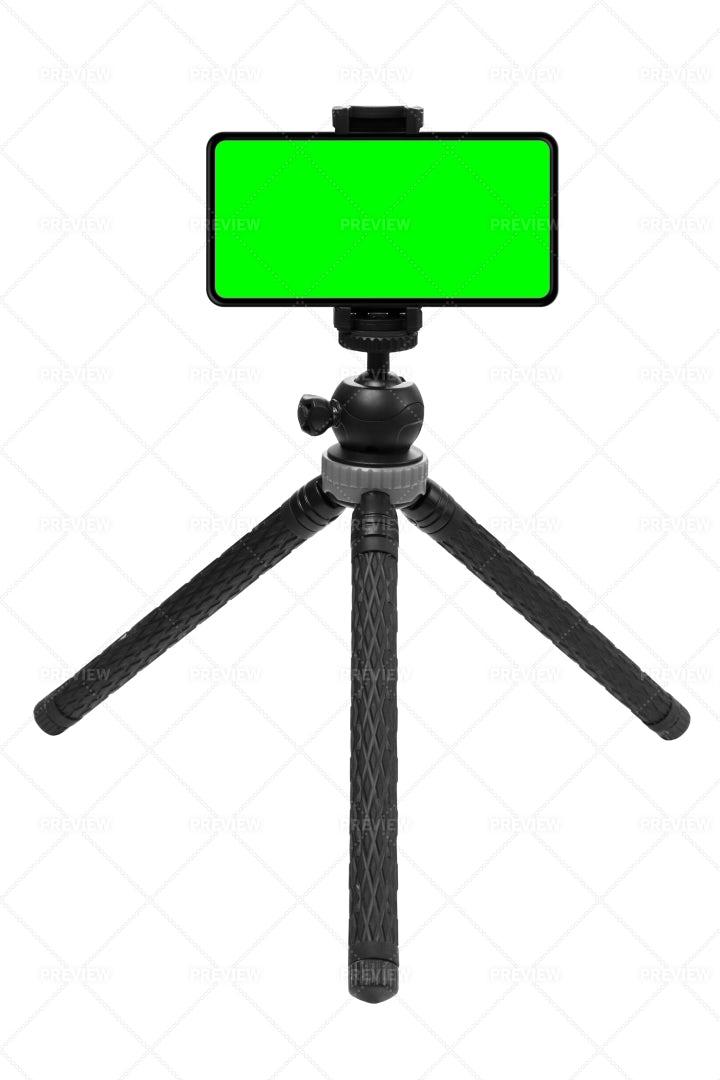 Mobile Green Screen On Tripod: Stock Photos